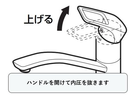 シングルレバー混合水栓の取り外し方法 レバーハンドルを上げて内圧を抜く