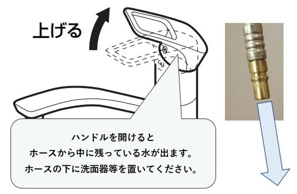 シングルレバー混合水栓の取り外し方法 ハンドルを開けて内部の水を抜く